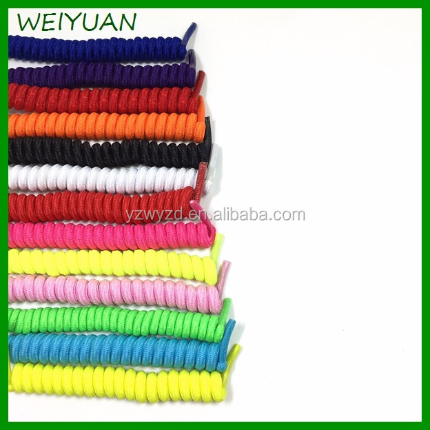 whloesale price solid color coiler shoelaces elastic spring elastic shoelaces