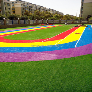 Rainbow colored artificial grass for children indoor playground soccer