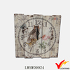 white chic wood square vintage painting wall clock