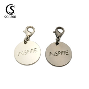 Zinc alloy logo charm name pendant,custom engraved jewelry tags wholesale