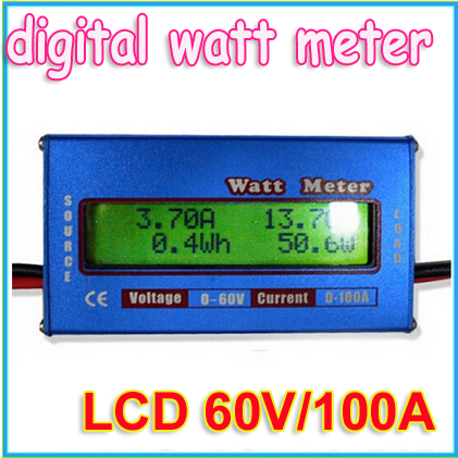 1pcs RC Wattmeter Digital Watt Meter LCD 60V/100A DC Voltage Current Power