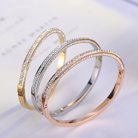 2020 rose gold bangles latest designs, titanium steel gold bangle bracelets(pr1788)