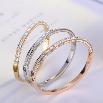 2017 Rose Gold Bangles Latest Designs Anium Steel Bangle Bracelets Pr1788