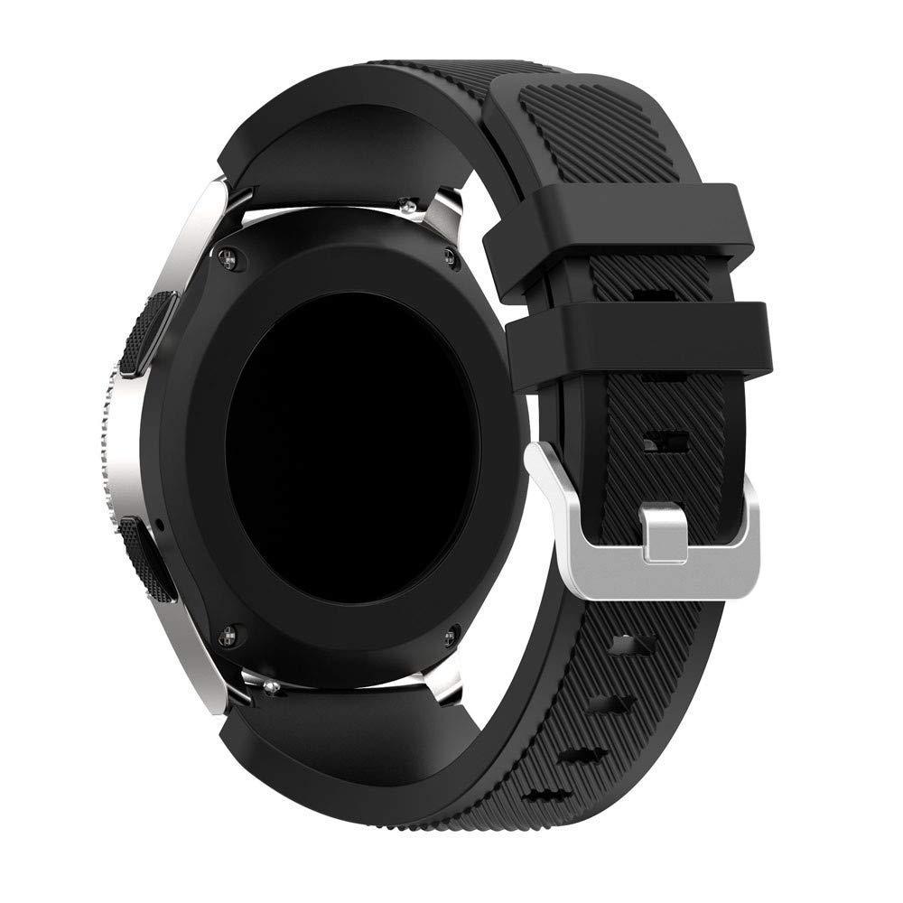 for Samsung Galaxy Watch Band Soft Silicone Band Adjustable Strap for Samsung Galaxy Watch 46mm (Black)