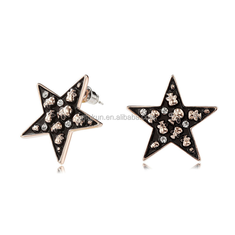 2017 new popular skull rhinestone star earrings stud rose gold enamel