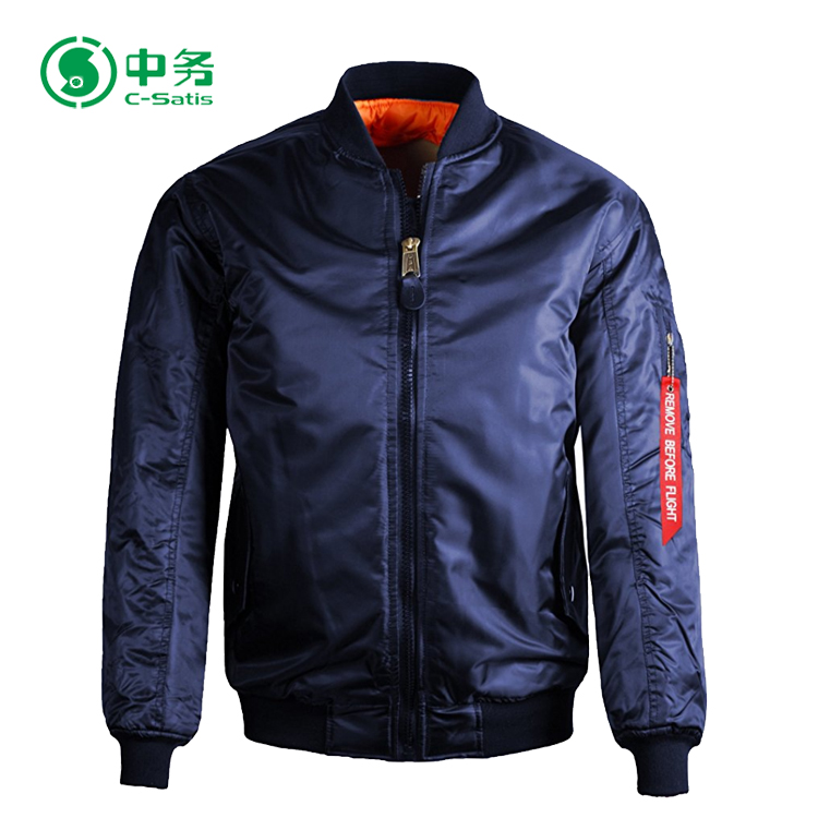 Custom Made High Quality 100% Nylon Silver MA 1 Pilot Bomber Jacket for Men