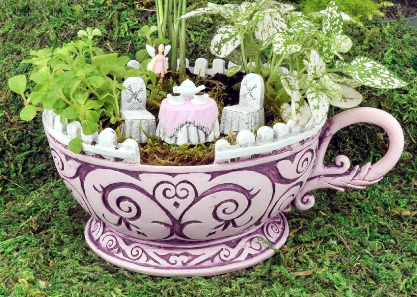 Get Quotations · Georgetown Home U0026 Garden, Fiddlehead Fairy Garden, Pink  Teacup Planter And Accessory Set.