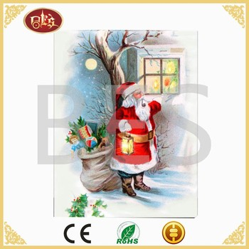 Christmas santa clause decoration led light canvas picture