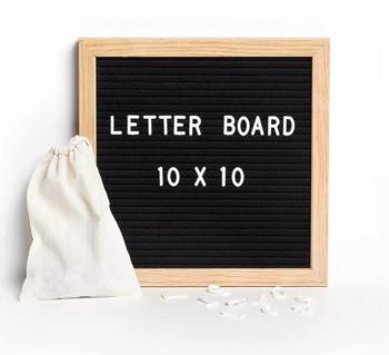 2019 Oak Frame Black Square Felt Letter Board With Stand  Letter