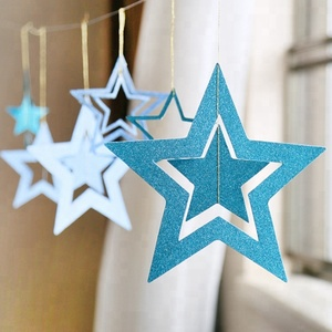 Gold Glitter Five Star Hanging Garland Baby Shower Wedding Christmas Supplies 4m Indoors decorations