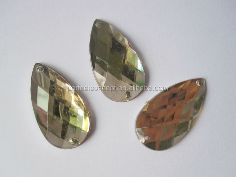 wholesale 15*30mm transparent topaz painted back flat back teardrop acrylic stones for bags clothes