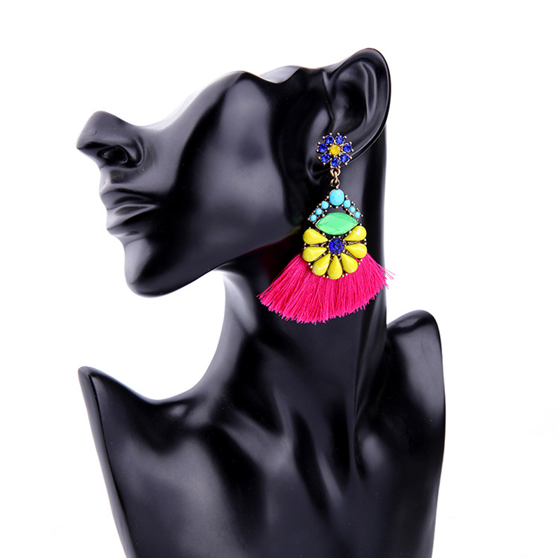 Handmade Ethnic Bohemian Tassel Earrings Rhinestone Dangle Long Tribal Earring Women Jewelry 2017 Trend