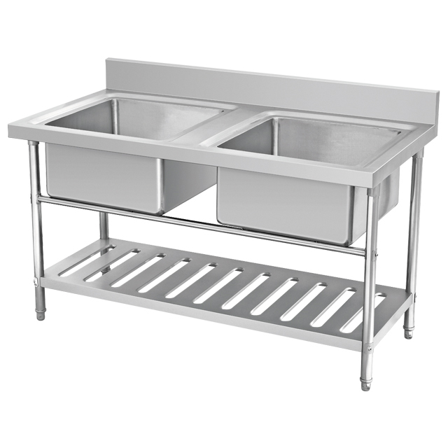 Restaurant Kitchen Equipment High quality double bowl kitchen sink with drainboard, 304/201 stainless steel sink, sink bowl
