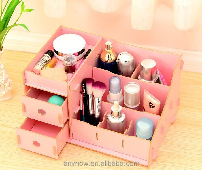 Creative various colors design wooden DIY desktop drawer type cosmetic case