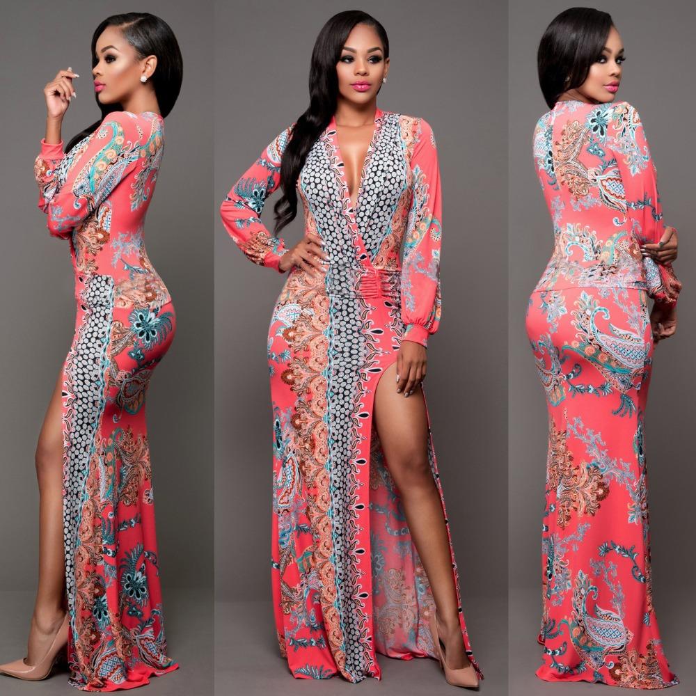 Alibaba.com / 2017 new trend Women's V-neck Open Side Split Summer Beach Long Maxi Bodycon Dress