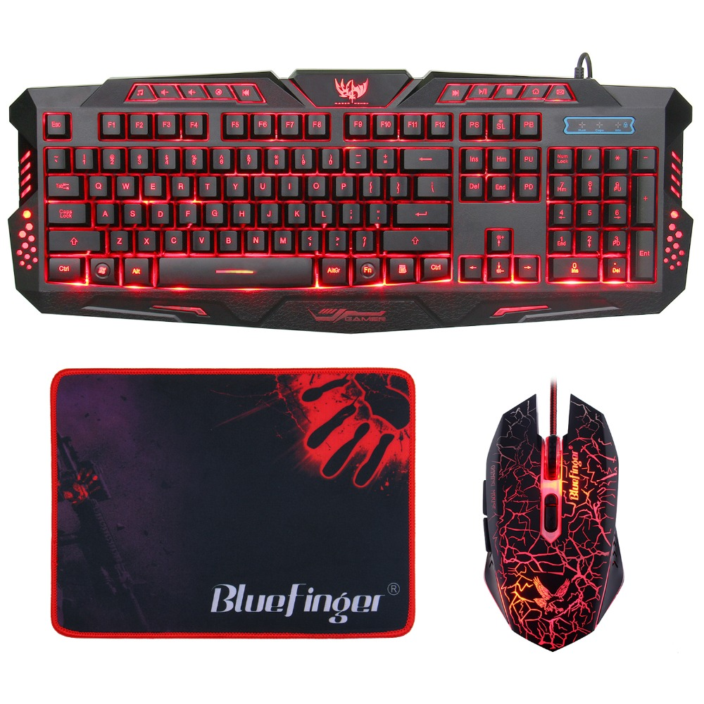German English layout led backlit gaming keyboard and mouse combo
