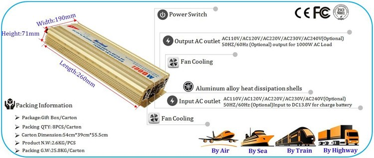Adjustable voltage pure sine wave single output any power combi inverter