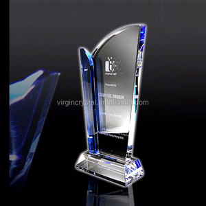 Elegant Awards Optical Crystal Memorial Plaque as glass trophy with Logo Customized
