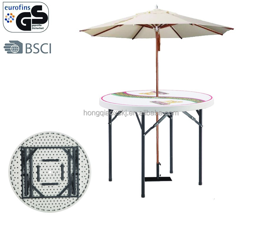 3ft Plastic Outdoor Round Table With Beach Umbrella Hole