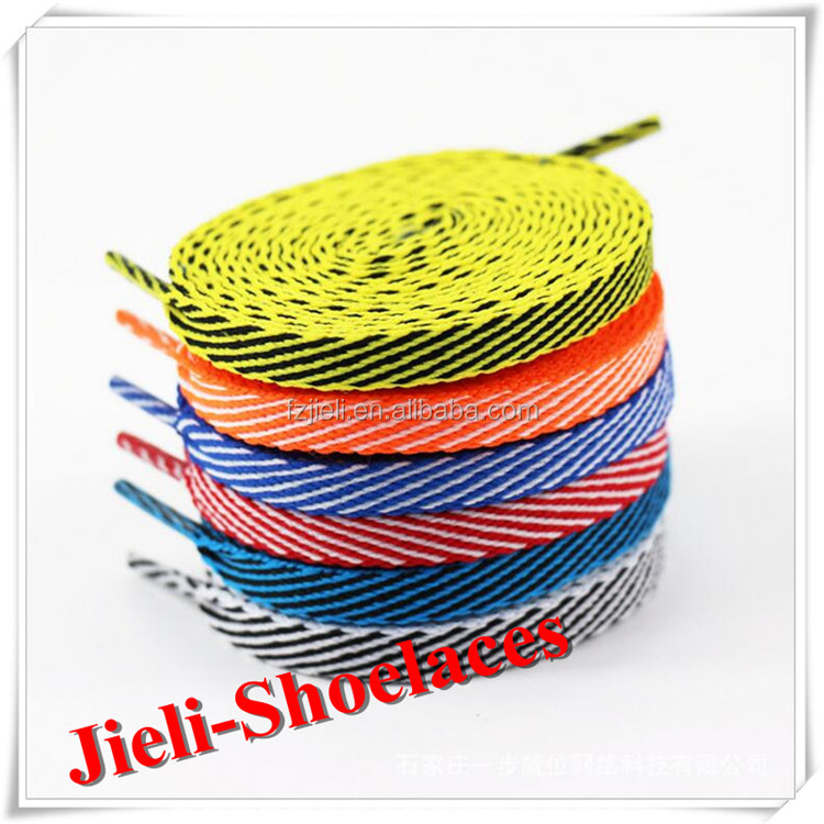Jieli custom logo flat hockey 100% spun polyester shoe laces