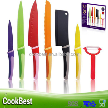 6pcs Knives With Peeler Colorful Non-stick Coating Knife Kitchen Knife Set  - Buy Kitchen Knife Set,Knives With Peeler,Non-stick Coating Knife Product  ...