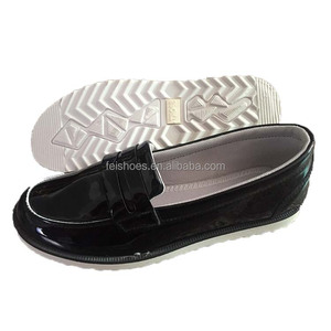 Slip-on flat ladies black pu leather shoes casual women canvas shoes