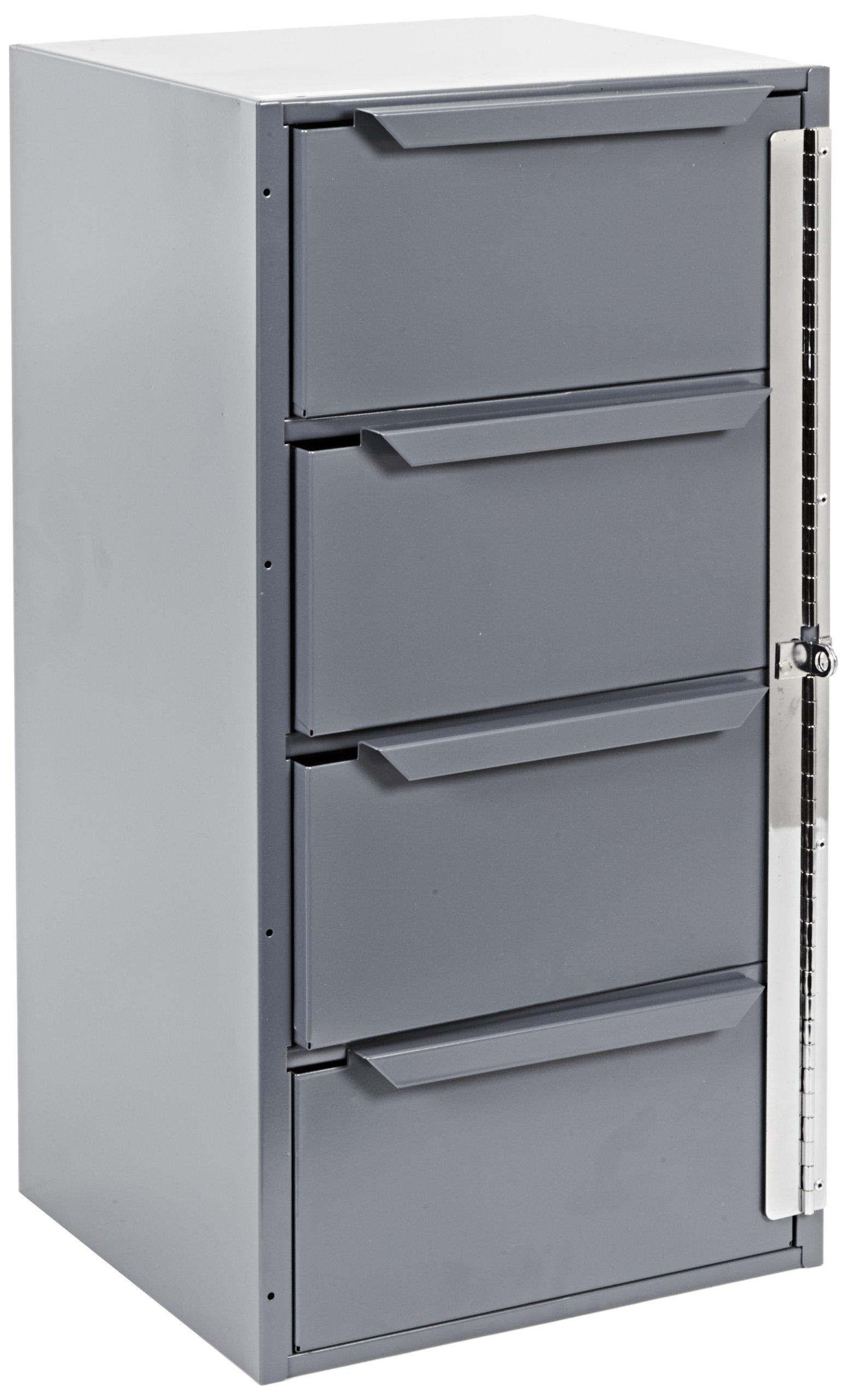 "Durham 610-95 Gray Welded Steel Cabinet, 12-5/8"" Width x 24-1/2"" Height x 12-1/8"" Depth, 4 Drawers"