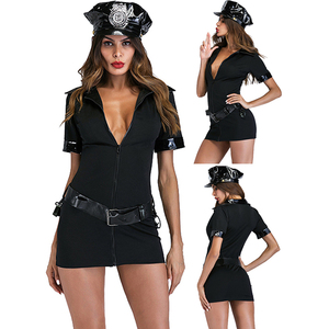 Lady Cop Women Sexy Police Uniform Cop Halloween Costume With Handcuffs