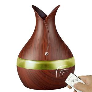Spa Home Decoration Flower Design Remote Control Wood Grain Mini Electric Aromatherapy Diffuser USB Essential Oil Air Humidifier
