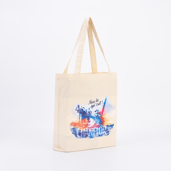 Custom printed standard size shopping canvas gift tote cotton bag