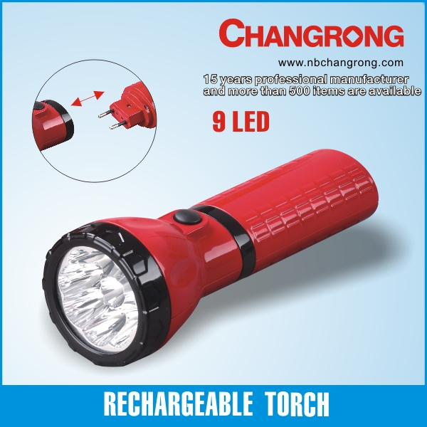 normal flashlight 9led rechargeable torch CR-9031A