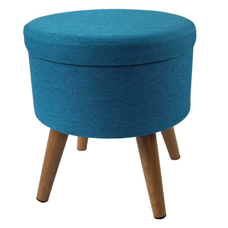 Round Storage Wood Leg Stool Bedroom Ottoman
