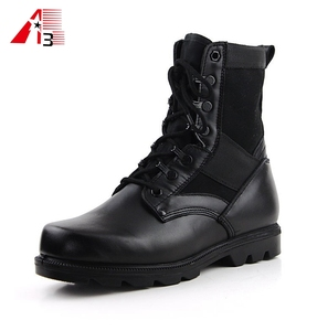 China manufacturer high ankle black jungle genuine leather army boot military black color Combat army military boot