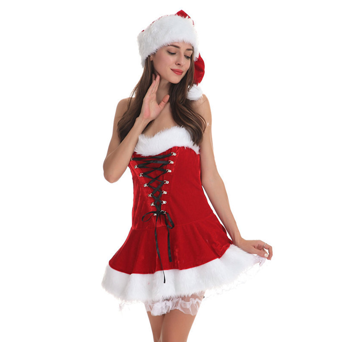 798e5f5f0fa Sexy Adult Women Christmas Strapless Corset Santa Claus Costumes Gifts  Christmas Party Dress With Hat + Thong Set Red/One Size