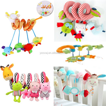 Free Sample Wholesale Factory Plush Soft Animal Baby Activity Spiral Toy Car Seat Pushchair Hanging Rattle
