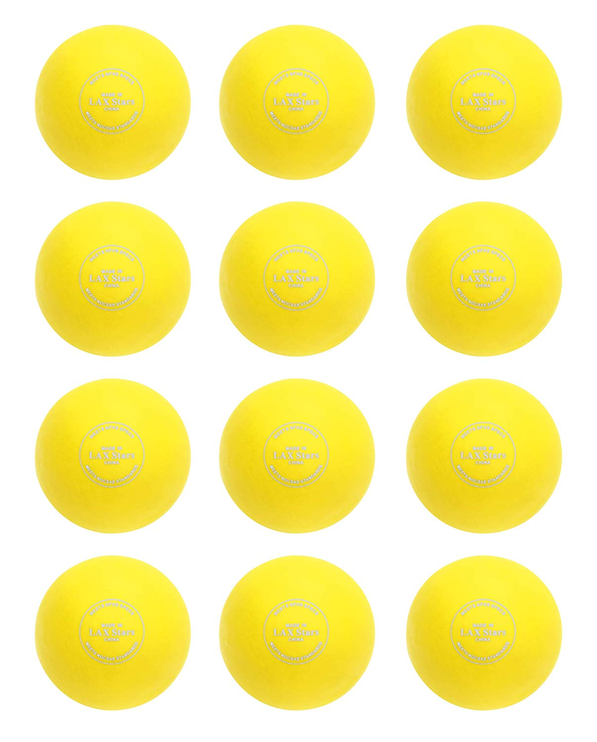 LAX Stars Lacrosse Balls 12 Pack - White, Orange, and Yellow No Grease