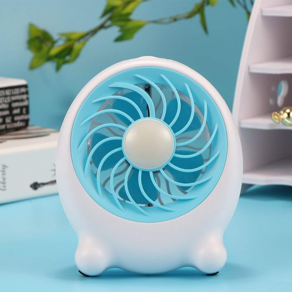 Konesky Clearance Mini USB Fan, Portable Desk Fan, Rechargeable Desktop Fan with 3 Speeds, LED Night Light, Stepless Brightness Low Noise Home, Office, Outdoor Travel(Blue)