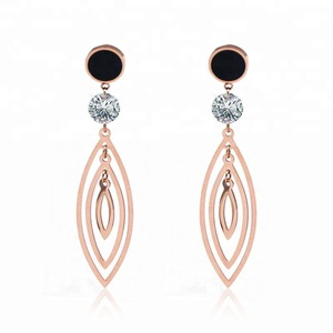 Ms Girl Rose Gold Color Fashion Jewelry Drop Earrings For Women