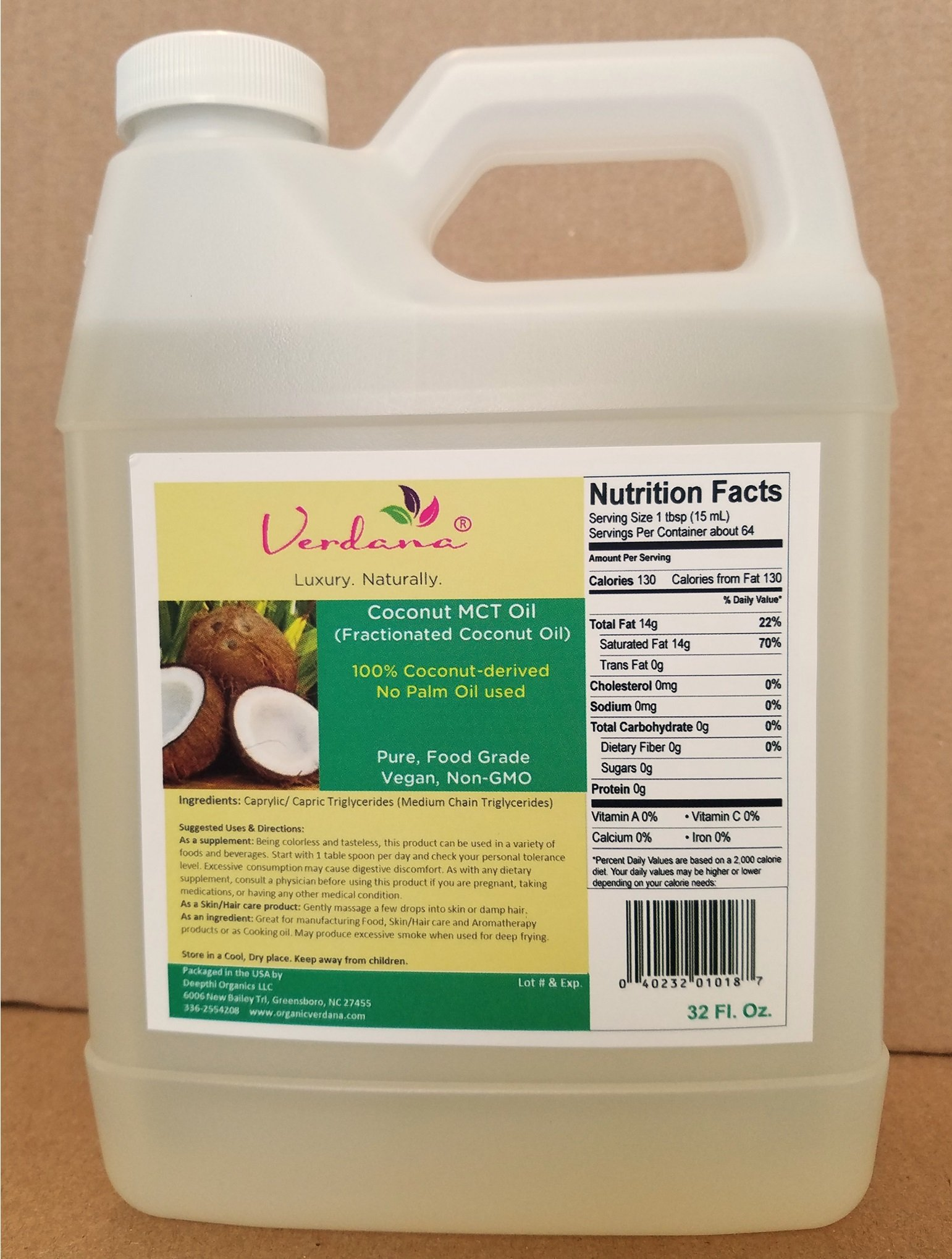 Organic Verdana Coconut MCT Oil – aka Fractionated Coconut Oil - 32 Fl Oz -– 100% from Coconuts – No Palm oil involved - Premium Food Grade - Pure, True MCT with only C8 and C10, No C12