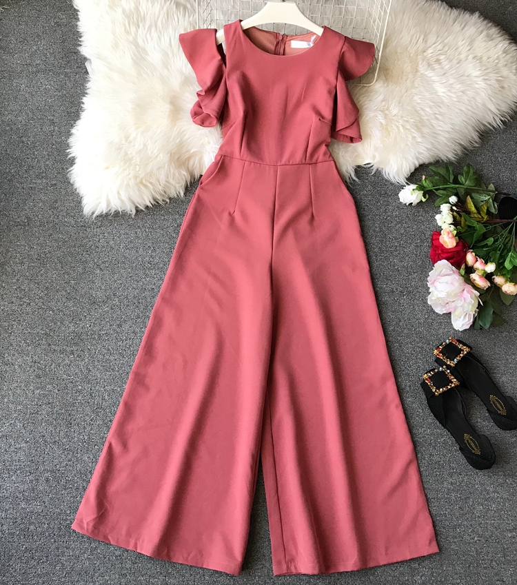 Alibaba.com / 5 Color Rompers Womens Jumpsuits Ankle Length Pants Casual Loose Female Summer Fashion Ruffles Jumpsuit Sexy E61561