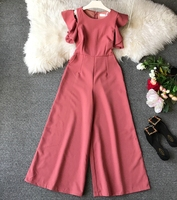 5 Color Rompers Womens Jumpsuits Ankle Length Pants Casual Loose Female Summer Fashion Ruffles Jumpsuit Sexy E61561
