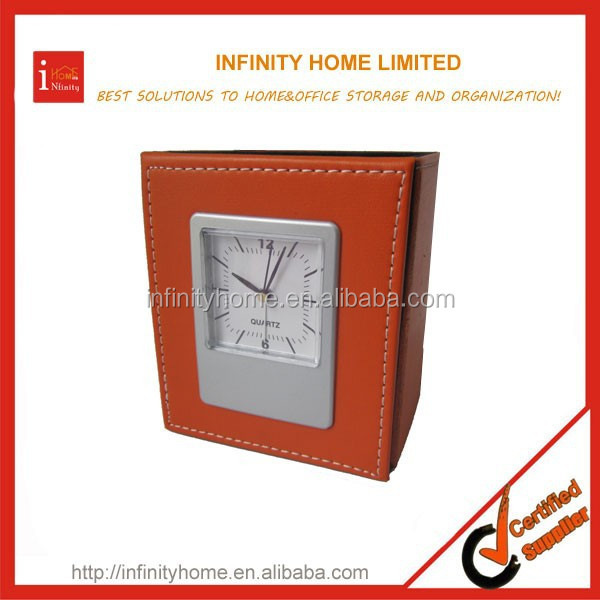 Promotional leather retractable cardboard clock pen holder