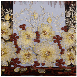 Wholesale Textile 8 Color Guangzhou Custom Embroidery French Lace Fabric Chemical Lace Embroidery Fabric Dress With Stones 965