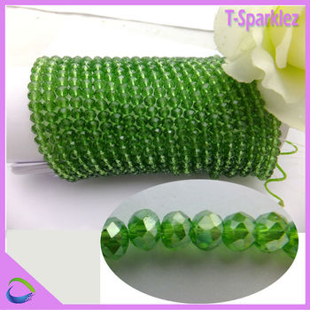 Cheap Green Flashy Hanging Crystal Bead Window Curtains