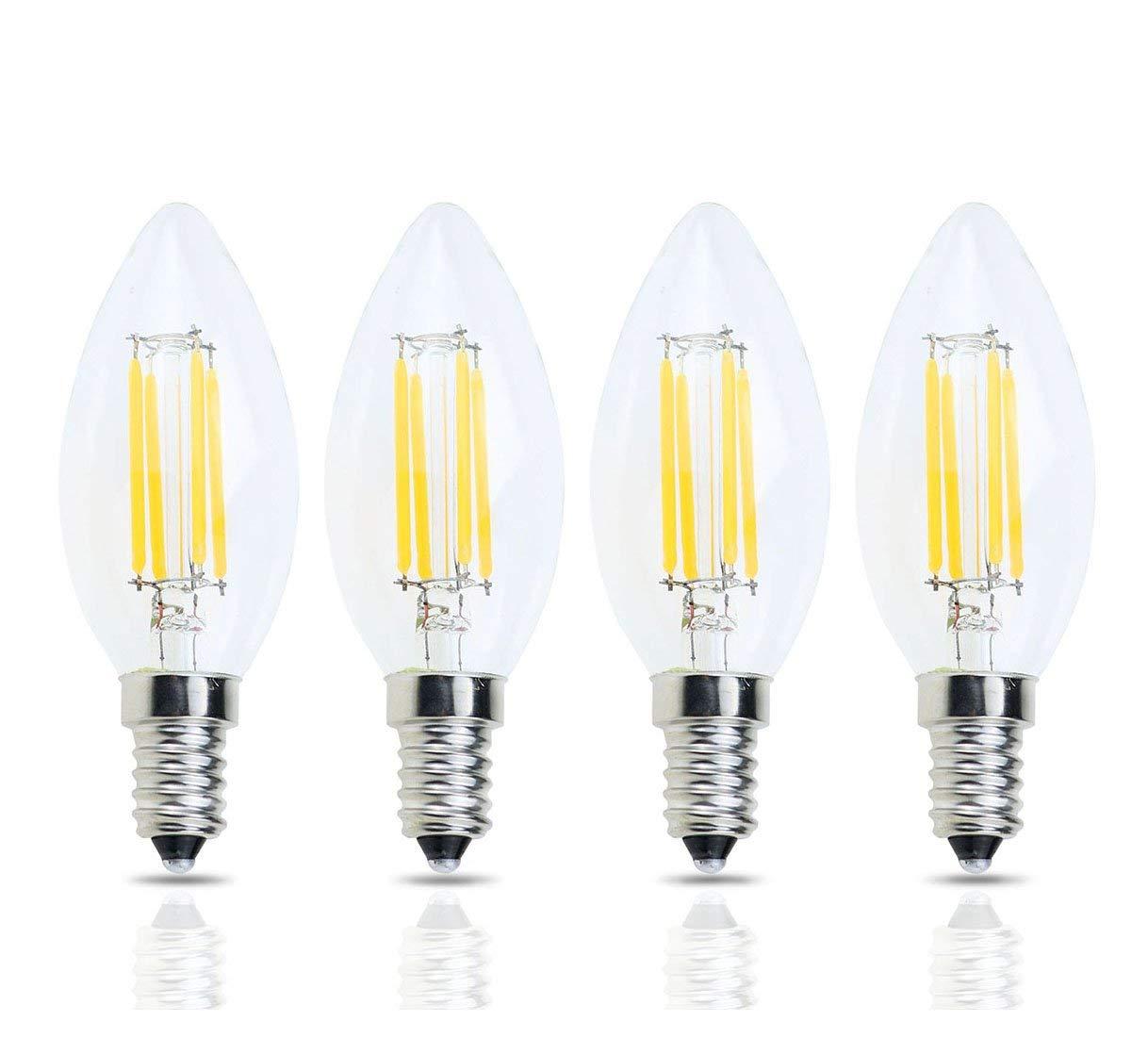 Lamsky LED E14 Base C35 Vintage Edison Bulb,LED Filament Light Bulb,4W Warm White 2700K,No-Dimmable 4-Pack