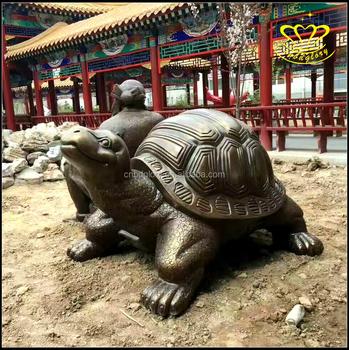 Cute Metal Bronze Fiberglass Turtle Sculptures Garden Decorate