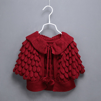 Baby Girls Frock Pattern Style Batwing Sleeves Knit Shawl Collar Red ...