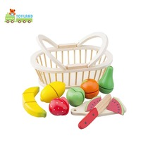 Wooden Fake Food Cutting Vegetable Toys Pretend Play For Kids