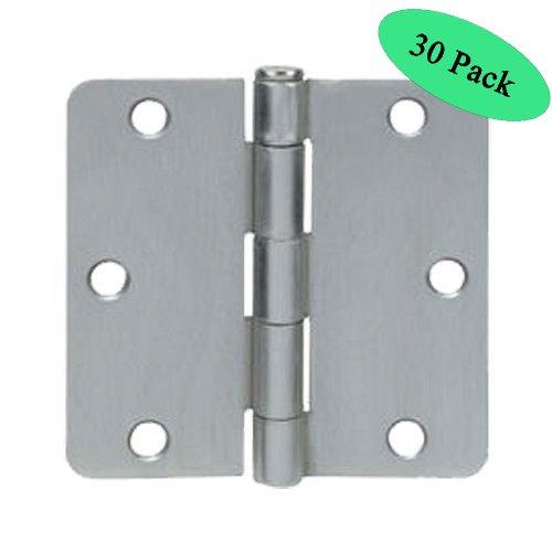 "Cosmas Satin Nickel Door Hinge 3.5"" Inch x 3.5"" Inch with 1/4"" Inch Radius Corners - 30 Pack"