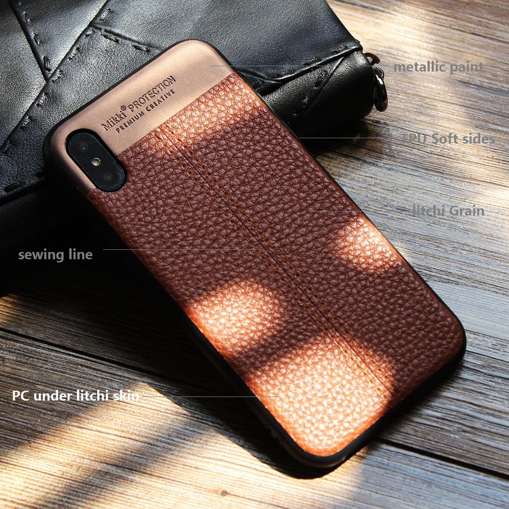 Premium TPU Leather Slim Fit Ultra light Soft Touch Protective Mobile Cell Phone Case Back Cover for iPhone X